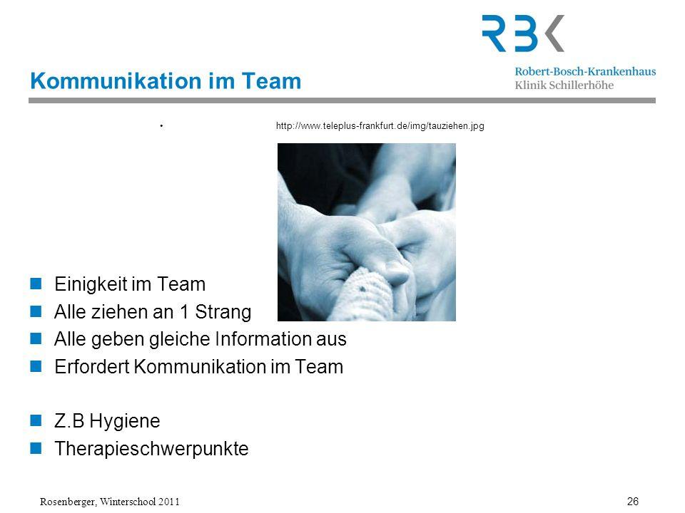 Rosenberger, Winterschool 2011 26 Kommunikation im Team http://www.teleplus-frankfurt.de/img/tauziehen.jpg Einigkeit im Team Alle ziehen an 1 Strang A