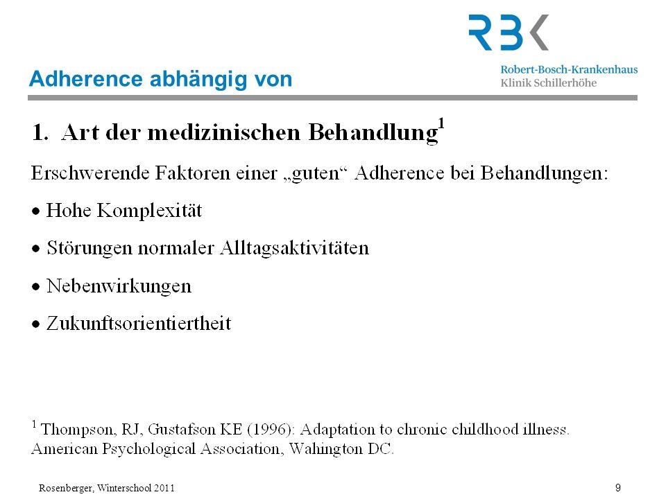Rosenberger, Winterschool 2011 10 CF-Realität Komplexität z.B Inhalation bedeutet eine extrem komplexe Therapie, sowohl was das Atemmuster des Patienten während der Inhalation angeht, als auch der hygienische Aufwand vor und nach der Inhalation, als auch die Abfolge der zu inhalierenden Medikamente