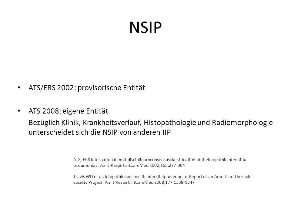 NSIP Immunsupressiva: Bei schwerem Verlauf, fehlendem response auf Steroide, Unverträglichkeit, Relapse, zusätzlich zu Glucocorticoiden Keine RCT`s Azathioprin: Einsparung Steroide, inadäquates Ansprechen Beginn mit 50mg/d, Steigerung um 25 mg/d wöchentlich bis 2 mg /kg/KG täglich, maximal 150 mg/d