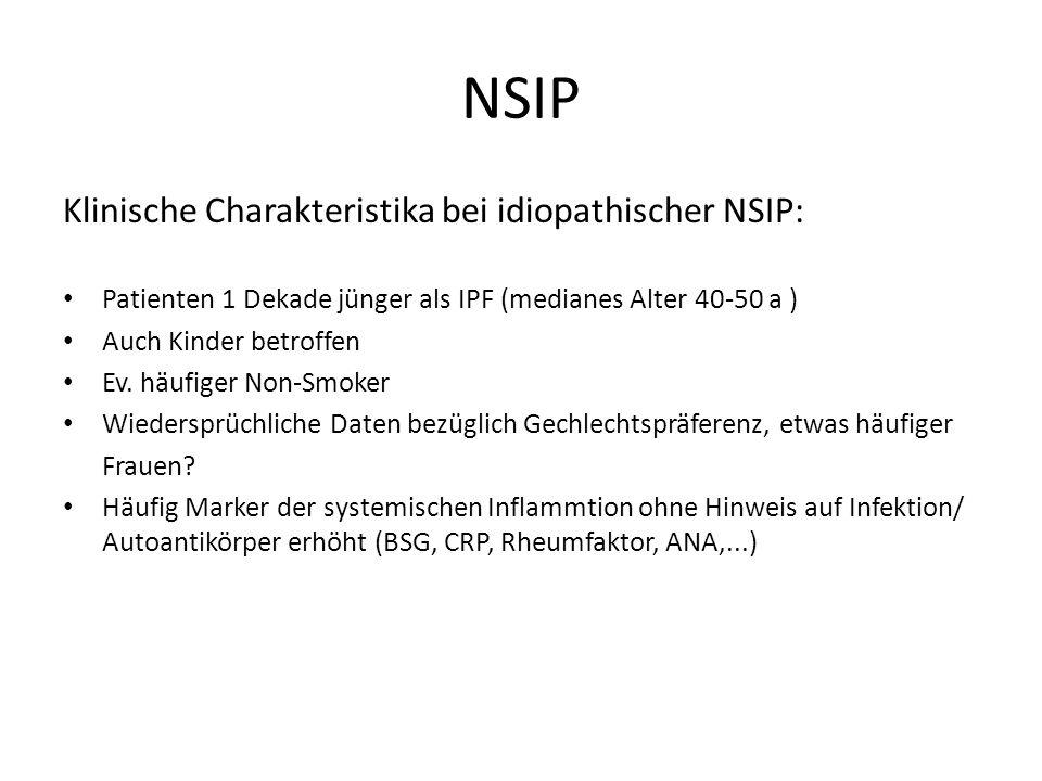 NSIP Histopathologie: Zellulärer Subtyp: Mild-moderate chronische interstitielle Inflammation (Lymphozyten, Plasmazellen), Typ-II-Pneumozyten-Hyperplasie, Alveolararchitektur erhalten, ausgeprägte Fibrose fehlt Katzenstein AL, Fiorelli RF.