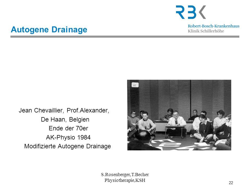 22 S.Rosenberger,T.Becher Physiotherapie,KSH Autogene Drainage Jean Chevaillier, Prof.Alexander, De Haan, Belgien Ende der 70er AK-Physio 1984 Modifiz