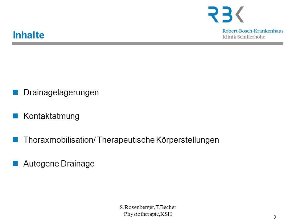3 Inhalte Drainagelagerungen Kontaktatmung Thoraxmobilisation/ Therapeutische Körperstellungen Autogene Drainage S.Rosenberger,T.Becher Physiotherapie