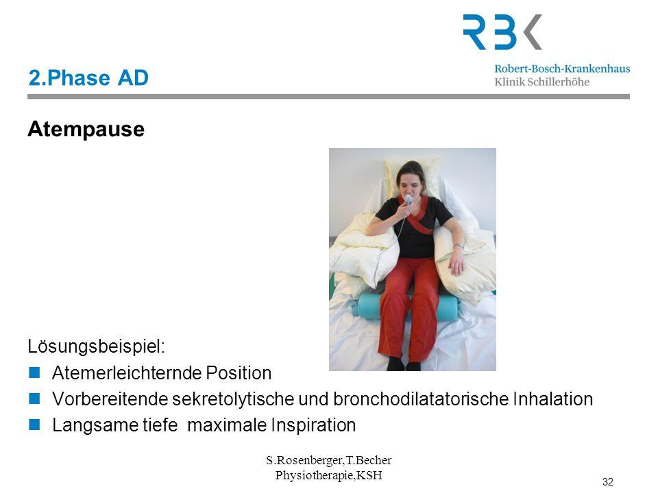 32 2.Phase AD Atempause Lösungsbeispiel: Atemerleichternde Position Vorbereitende sekretolytische und bronchodilatatorische Inhalation Langsame tiefe