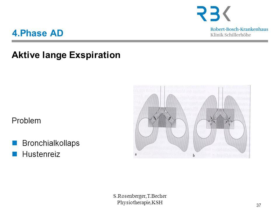 37 4.Phase AD Aktive lange Exspiration Problem Bronchialkollaps Hustenreiz S.Rosenberger,T.Becher Physiotherapie,KSH