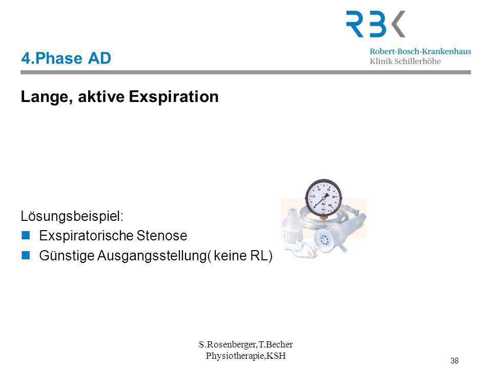 38 S.Rosenberger,T.Becher Physiotherapie,KSH 4.Phase AD Lange, aktive Exspiration Lösungsbeispiel: Exspiratorische Stenose Günstige Ausgangsstellung(