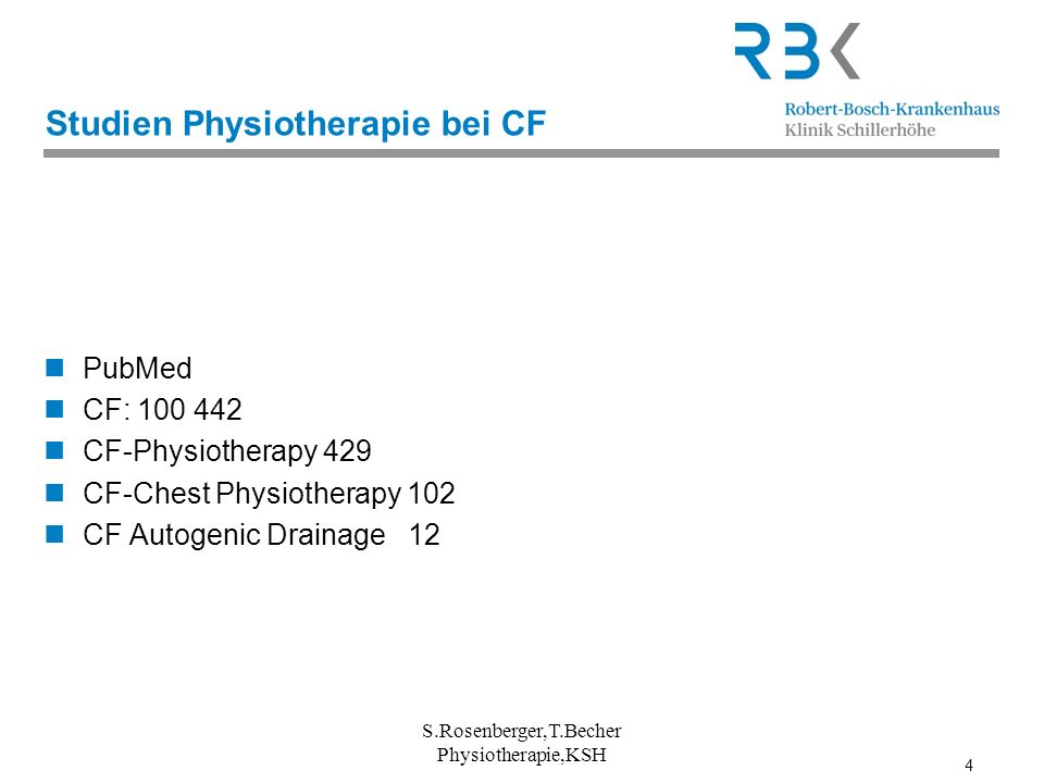 4 Studien Physiotherapie bei CF PubMed CF: 100 442 CF-Physiotherapy 429 CF-Chest Physiotherapy 102 CF Autogenic Drainage 12