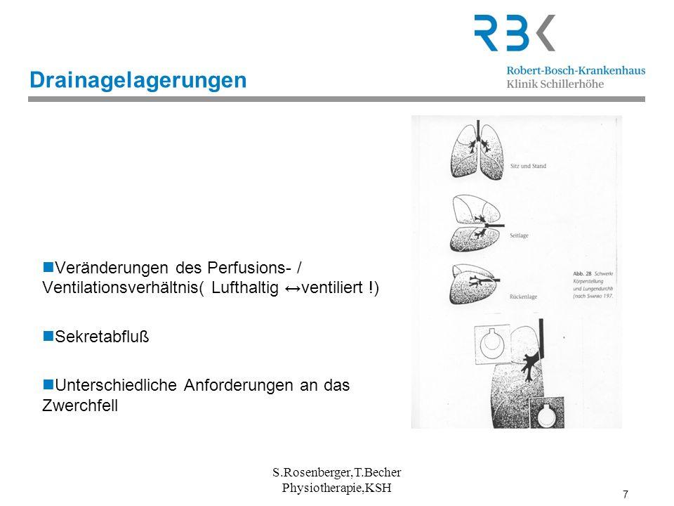 7 Drainagelagerungen Veränderungen des Perfusions- / Ventilationsverhältnis( Lufthaltig ventiliert !) Sekretabfluß Unterschiedliche Anforderungen an d