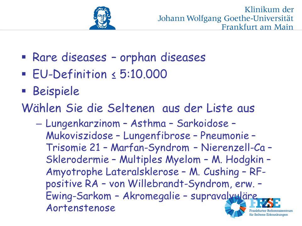 Rare diseases – orphan diseases EU-Definition 5:10.000 Beispiele Wählen Sie die Seltenen aus der Liste aus – Lungenkarzinom – Asthma – Sarkoidose – Mukoviszidose – Lungenfibrose – Pneumonie – Trisomie 21 – Marfan-Syndrom – Nierenzell-Ca – Sklerodermie – Multiples Myelom – M.