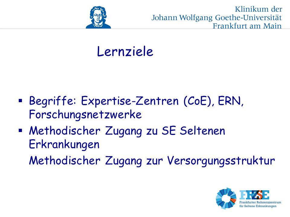 Lernziele Begriffe: Expertise-Zentren (CoE), ERN, Forschungsnetzwerke Methodischer Zugang zu SE Seltenen Erkrankungen Methodischer Zugang zur Versorgungsstruktur