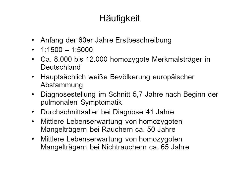 Häufigkeit Anfang der 60er Jahre Erstbeschreibung 1:1500 – 1:5000 Ca. 8.000 bis 12.000 homozygote Merkmalsträger in Deutschland Hauptsächlich weiße Be