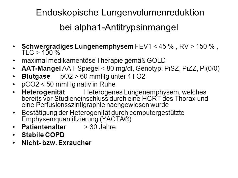 Endoskopische Lungenvolumenreduktion bei alpha1-Antitrypsinmangel Schwergradiges Lungenemphysem FEV1 150 %, TLC > 100 % maximal medikamentöse Therapie gemäß GOLD AAT-Mangel AAT-Spiegel < 80 mg/dl, Genotyp: PiSZ, PiZZ, Pi(0/0) Blutgase pO2 > 60 mmHg unter 4 l O2 pCO2 < 50 mmHg nativ in Ruhe Heterogenität Heterogenes Lungenemphysem, welches bereits vor Studieneinschluss durch eine HCRT des Thorax und eine Perfusionsszintigraphie nachgewiesen wurde Bestätigung der Heterogenität durch computergestützte Emphysemquantifizierung (YACTA®) Patientenalter > 30 Jahre Stabile COPD Nicht- bzw.
