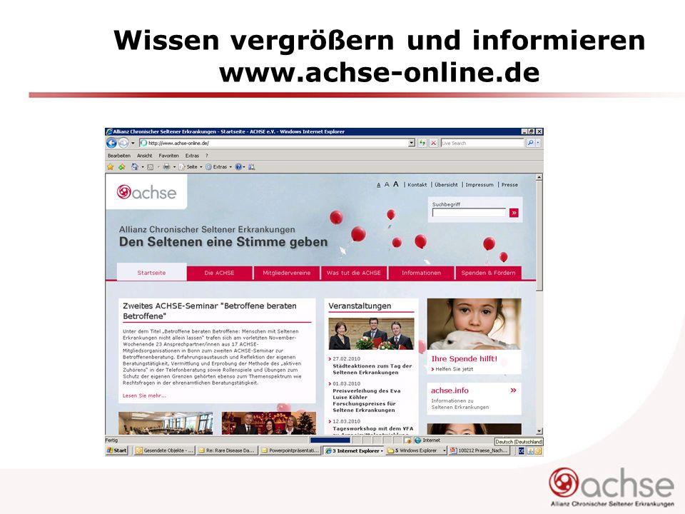 Wissen vergrößern und informieren www.achse-online.de