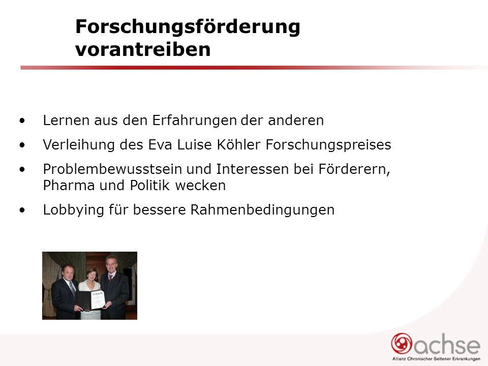 Forschungsförderung vorantreiben Lernen aus den Erfahrungen der anderen Verleihung des Eva Luise Köhler Forschungspreises Problembewusstsein und Inter