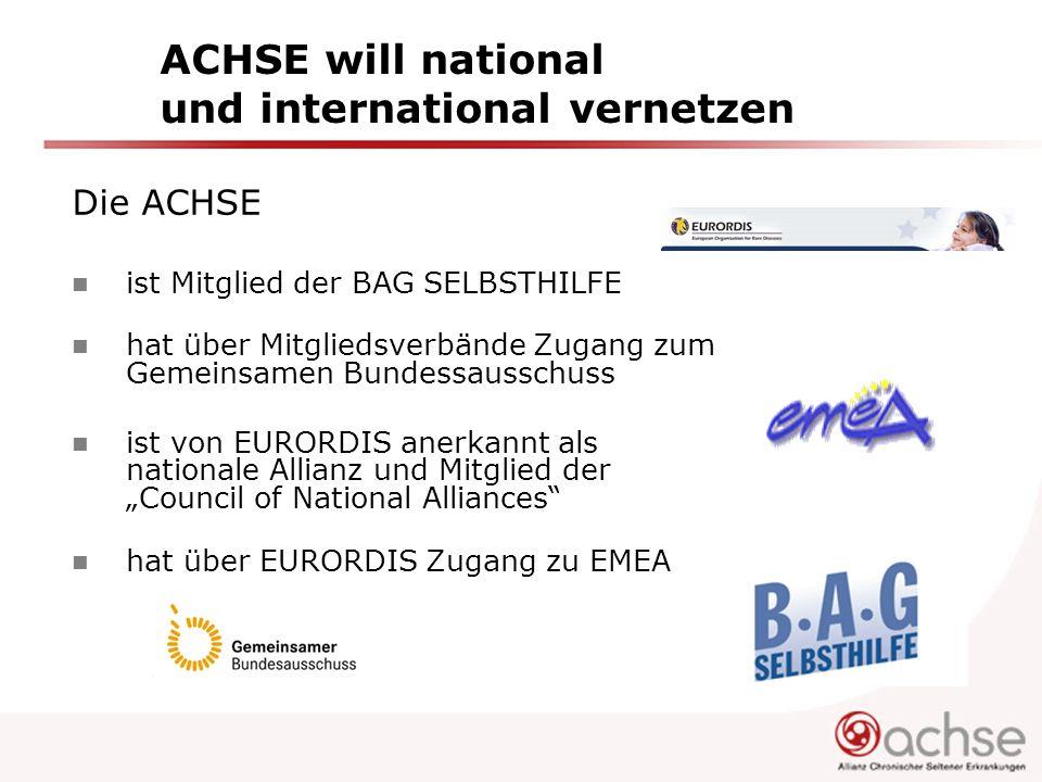 ACHSE will national und international vernetzen Die ACHSE ist Mitglied der BAG SELBSTHILFE hat über Mitgliedsverbände Zugang zum Gemeinsamen Bundessau