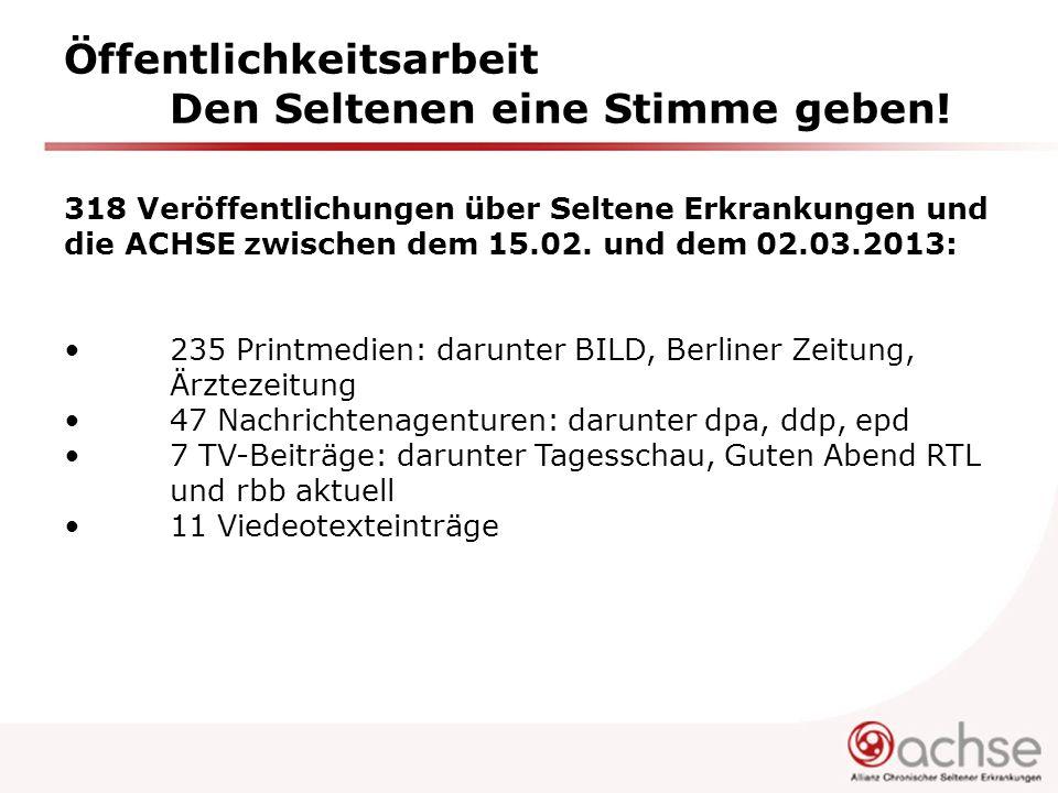 Öffentlichkeitsarbeit Den Seltenen eine Stimme geben! 318 Veröffentlichungen über Seltene Erkrankungen und die ACHSE zwischen dem 15.02. und dem 02.03