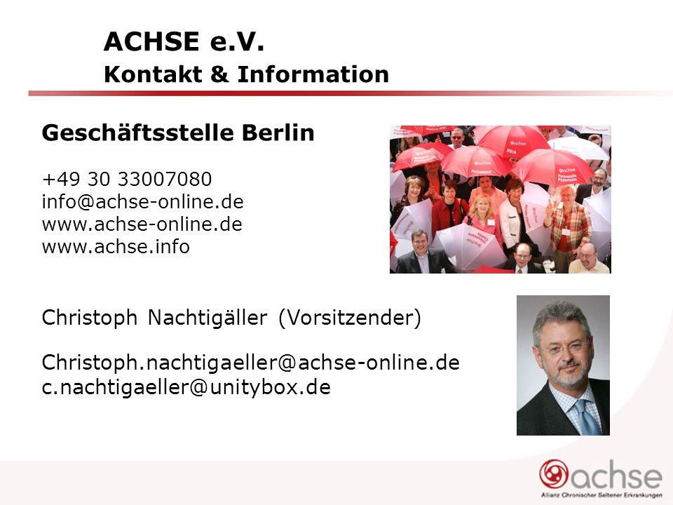 ACHSE e.V. Kontakt & Information Geschäftsstelle Berlin +49 30 33007080 info@achse-online.de www.achse-online.de www.achse.info Christoph Nachtigäller