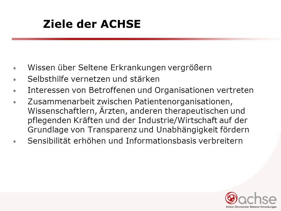 ACHSE will national und international vernetzen Die ACHSE ist Mitglied der BAG SELBSTHILFE hat über Mitgliedsverbände Zugang zum Gemeinsamen Bundessausschuss ist von EURORDIS anerkannt als nationale Allianz und Mitglied der Council of National Alliances hat über EURORDIS Zugang zu EMEA