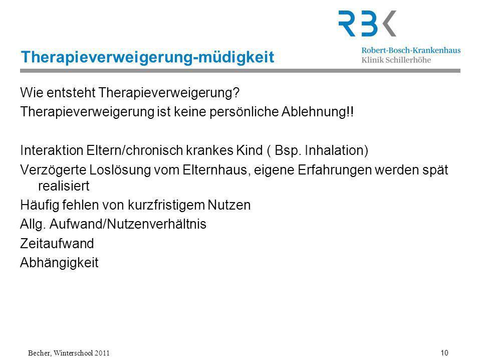 Becher, Winterschool 2011 10 Therapieverweigerung-müdigkeit Wie entsteht Therapieverweigerung.