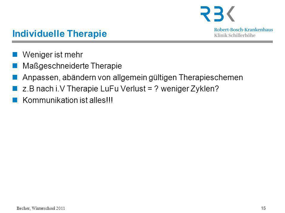Becher, Winterschool 2011 15 Individuelle Therapie Weniger ist mehr Maßgeschneiderte Therapie Anpassen, abändern von allgemein gültigen Therapieschemen z.B nach i.V Therapie LuFu Verlust = .