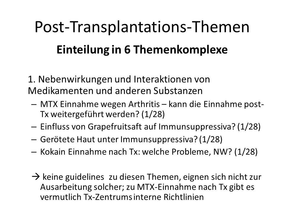 Post-Transplantations-Themen Einteilung in 6 Themenkomplexe 1. Nebenwirkungen und Interaktionen von Medikamenten und anderen Substanzen – MTX Einnahme