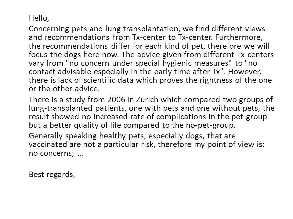 Question: Dear ladies and gentlemen, Dr.