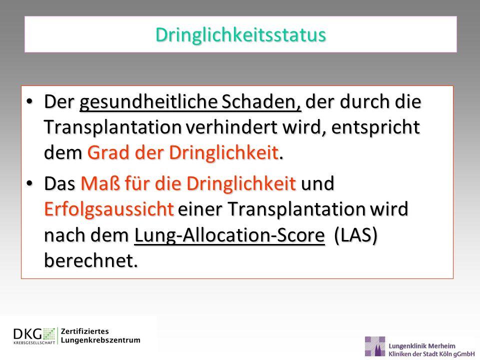 Dringlichkeitsstatus Der gesundheitliche Schaden, der durch die Transplantation verhindert wird, entspricht dem Grad der Dringlichkeit. Der gesundheit