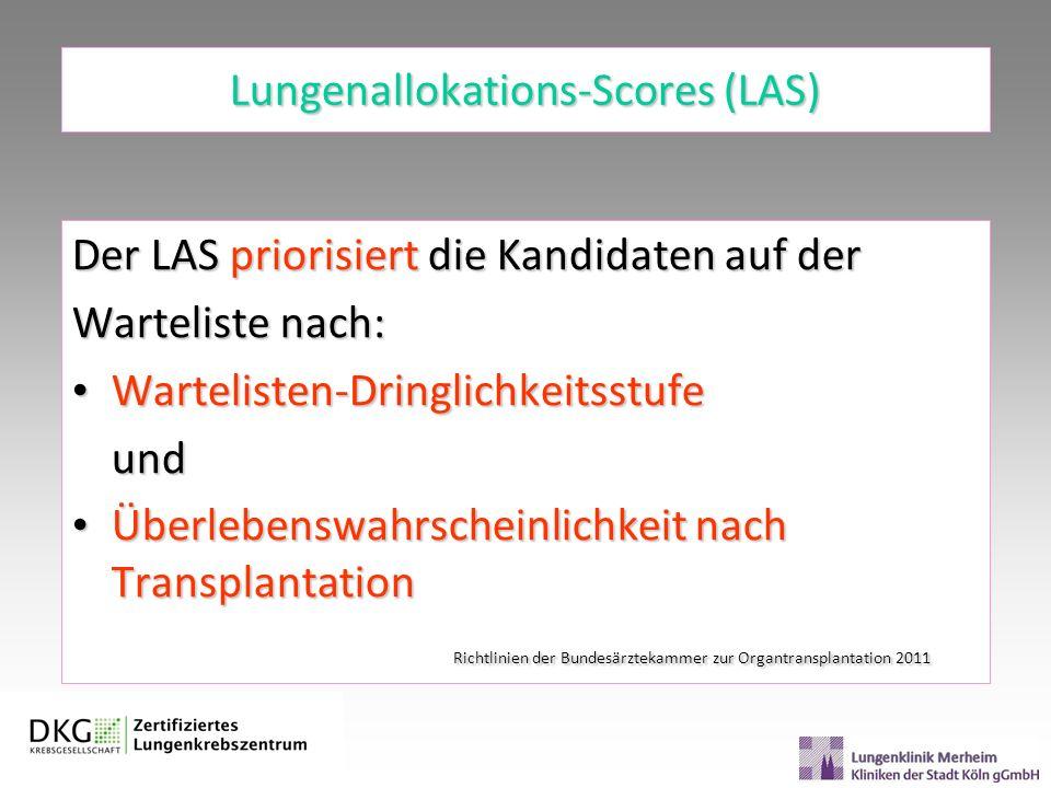 Lungenallokations-Scores (LAS) Der LAS priorisiert die Kandidaten auf der Warteliste nach: Wartelisten-Dringlichkeitsstufe Wartelisten-Dringlichkeitss
