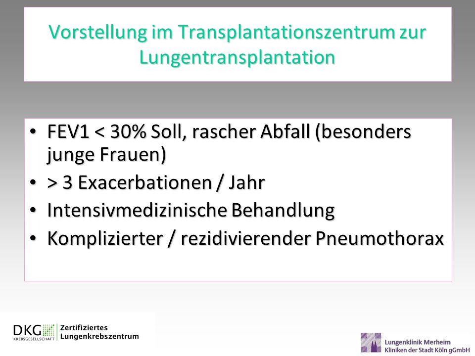 Vorstellung im Transplantationszentrum zur Lungentransplantation FEV1 < 30% Soll, rascher Abfall (besonders junge Frauen) FEV1 < 30% Soll, rascher Abf