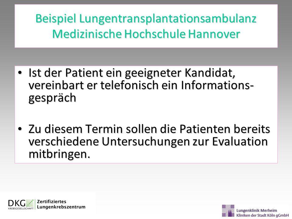 Beispiel Lungentransplantationsambulanz Medizinische Hochschule Hannover Ist der Patient ein geeigneter Kandidat, vereinbart er telefonisch ein Inform