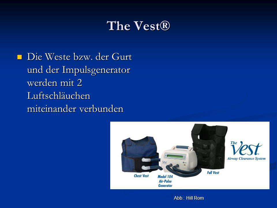 The Vest® Die Weste bzw. der Gurt und der Impulsgenerator werden mit 2 Luftschläuchen miteinander verbunden Die Weste bzw. der Gurt und der Impulsgene