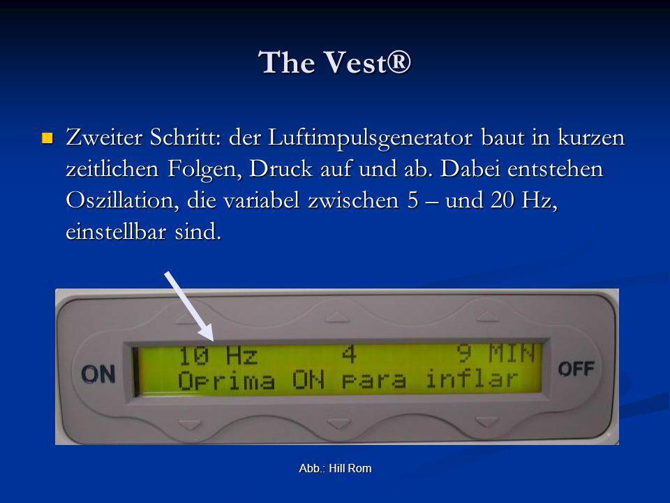 The Vest® Zweiter Schritt: der Luftimpulsgenerator baut in kurzen zeitlichen Folgen, Druck auf und ab. Dabei entstehen Oszillation, die variabel zwisc