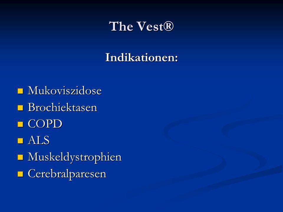The Vest® Indikationen: Mukoviszidose Mukoviszidose Brochiektasen Brochiektasen COPD COPD ALS ALS Muskeldystrophien Muskeldystrophien Cerebralparesen