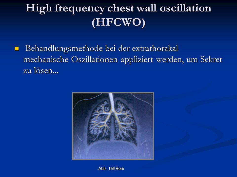 High frequency chest wall oscillation (HFCWO) Behandlungsmethode bei der extrathorakal mechanische Oszillationen appliziert werden, um Sekret zu lösen