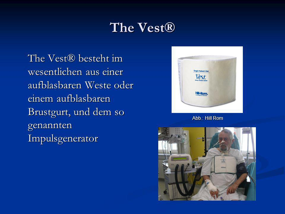 The Vest® The Vest® besteht im wesentlichen aus einer aufblasbaren Weste oder einem aufblasbaren Brustgurt, und dem so genannten Impulsgenerator Abb.: Hill Rom