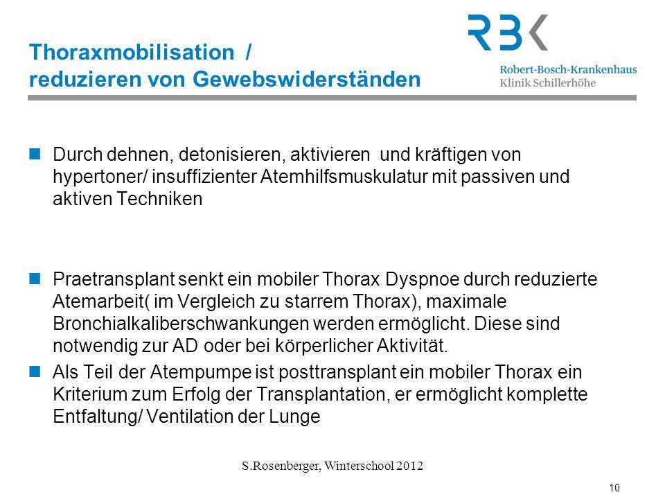 10 S.Rosenberger, Winterschool 2012 Thoraxmobilisation / reduzieren von Gewebswiderständen Durch dehnen, detonisieren, aktivieren und kräftigen von hy