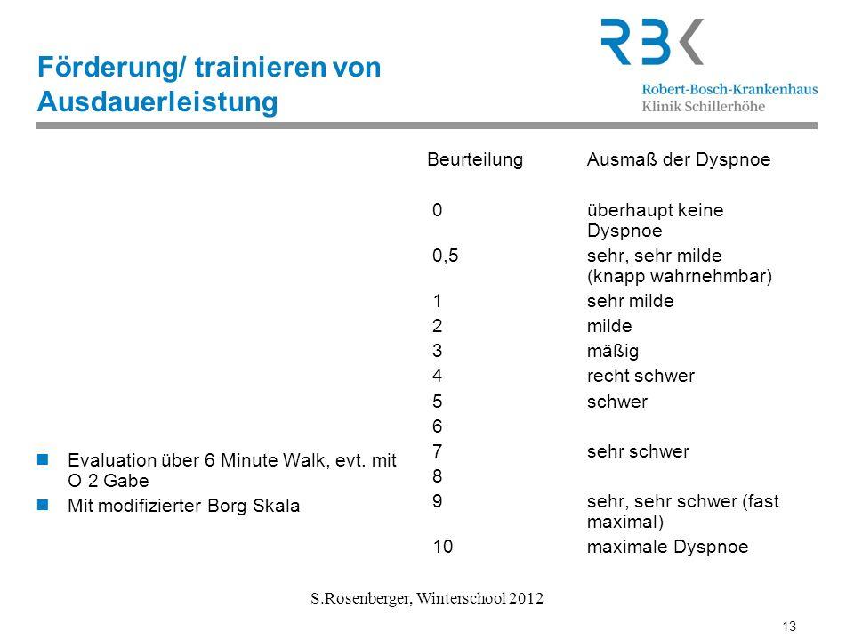 13 S.Rosenberger, Winterschool 2012 Förderung/ trainieren von Ausdauerleistung Evaluation über 6 Minute Walk, evt. mit O 2 Gabe Mit modifizierter Borg