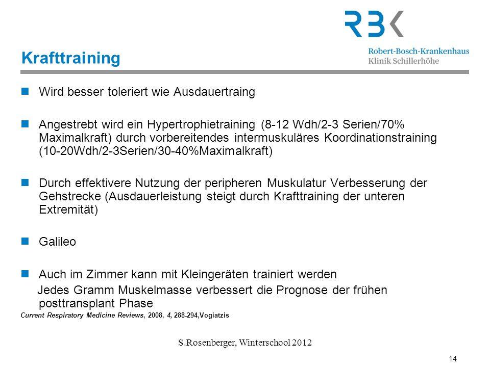 14 S.Rosenberger, Winterschool 2012 Krafttraining Wird besser toleriert wie Ausdauertraing Angestrebt wird ein Hypertrophietraining (8-12 Wdh/2-3 Seri
