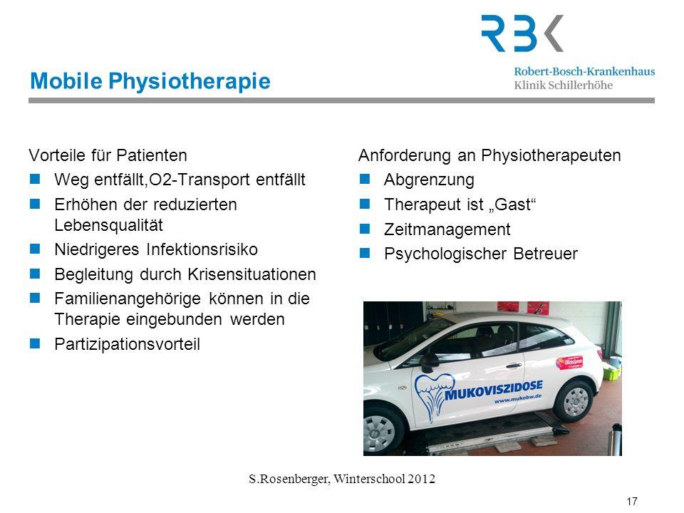 17 S.Rosenberger, Winterschool 2012 Mobile Physiotherapie Vorteile für Patienten Weg entfällt,O2-Transport entfällt Erhöhen der reduzierten Lebensqual