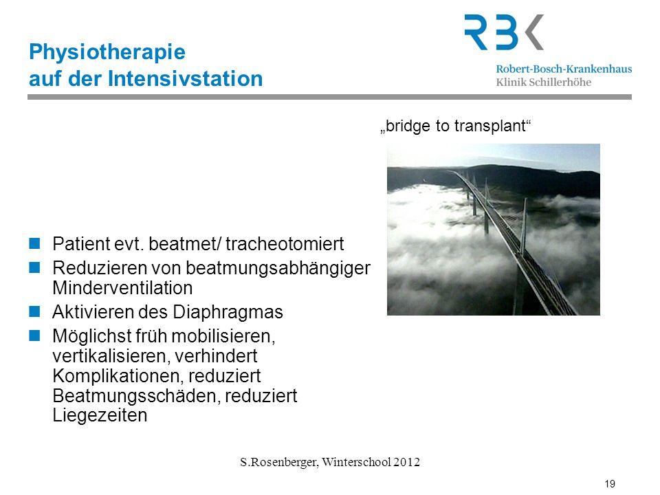 19 S.Rosenberger, Winterschool 2012 Physiotherapie auf der Intensivstation Patient evt. beatmet/ tracheotomiert Reduzieren von beatmungsabhängiger Min