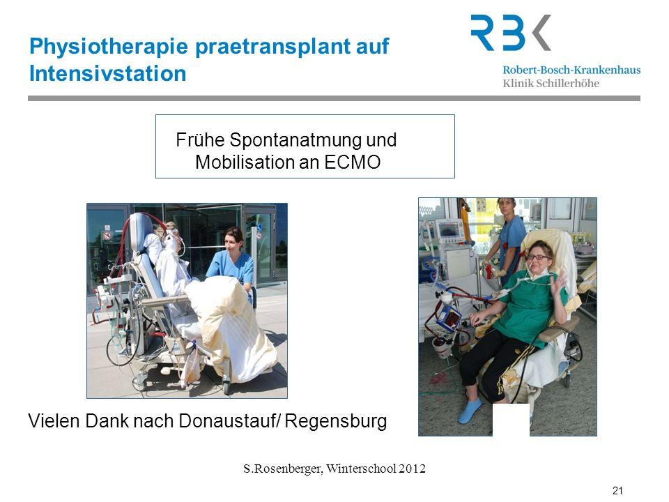 21 S.Rosenberger, Winterschool 2012 Physiotherapie praetransplant auf Intensivstation Vielen Dank nach Donaustauf/ Regensburg 21 Frühe Spontanatmung u