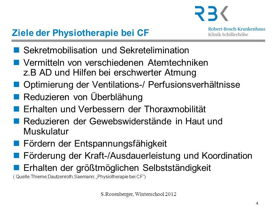4 S.Rosenberger, Winterschool 2012 Ziele der Physiotherapie bei CF Sekretmobilisation und Sekretelimination Vermitteln von verschiedenen Atemtechniken