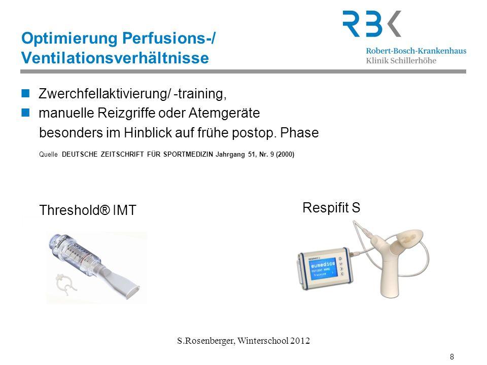 8 S.Rosenberger, Winterschool 2012 Optimierung Perfusions-/ Ventilationsverhältnisse Zwerchfellaktivierung/ -training, manuelle Reizgriffe oder Atemge