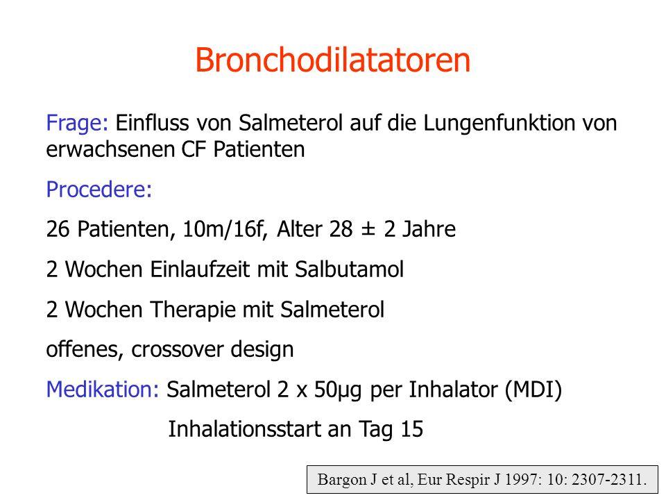 Bargon J et al, Eur Respir J 1997: 10: 2307-2311. Bronchodilatatoren Frage: Einfluss von Salmeterol auf die Lungenfunktion von erwachsenen CF Patiente