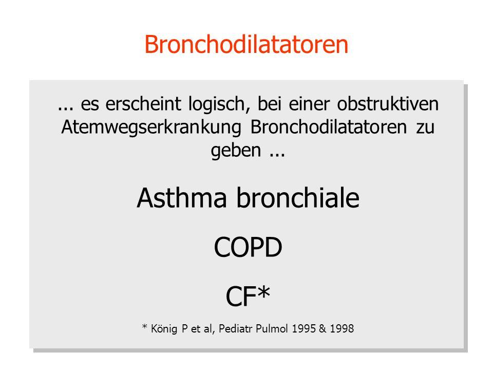 Bronchodilatatoren... es erscheint logisch, bei einer obstruktiven Atemwegserkrankung Bronchodilatatoren zu geben... Asthma bronchiale COPD CF* * Köni