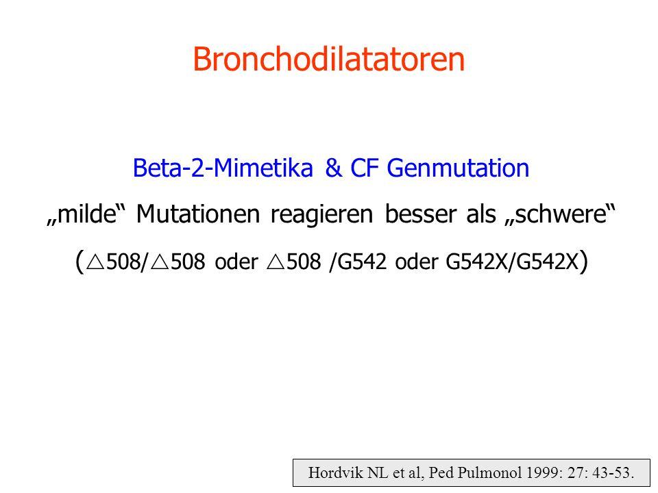 Bronchodilatatoren Beta-2-Mimetika & CF Genmutation milde Mutationen reagieren besser als schwere ( 508/ 508 oder 508 /G542 oder G542X/G542X ) Hordvik