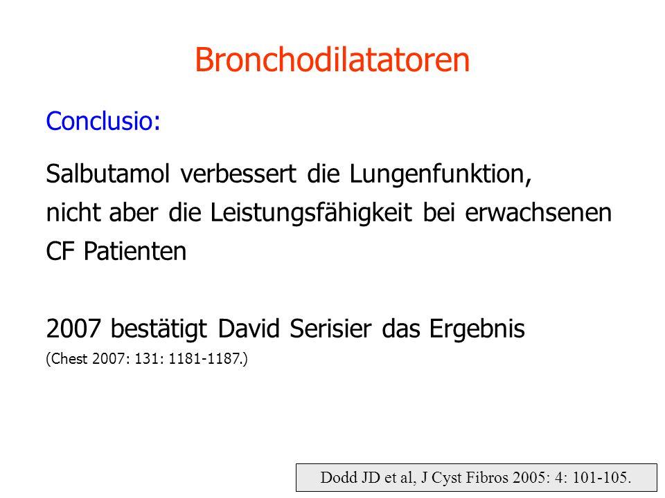 Bronchodilatatoren Conclusio: Salbutamol verbessert die Lungenfunktion, nicht aber die Leistungsfähigkeit bei erwachsenen CF Patienten 2007 bestätigt