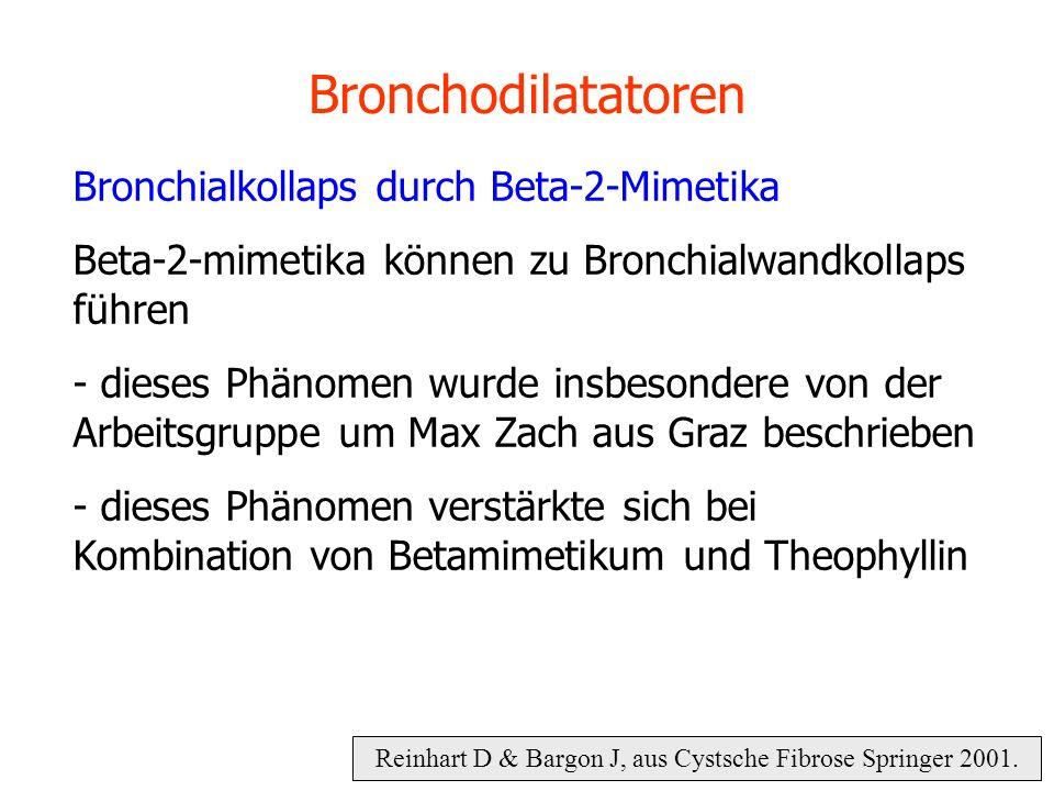 Reinhart D & Bargon J, aus Cystsche Fibrose Springer 2001. Bronchodilatatoren Bronchialkollaps durch Beta-2-Mimetika Beta-2-mimetika können zu Bronchi