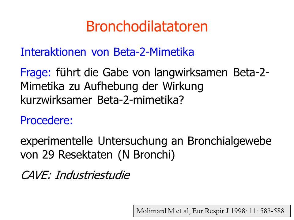 Molimard M et al, Eur Respir J 1998: 11: 583-588. Bronchodilatatoren Interaktionen von Beta-2-Mimetika Frage: führt die Gabe von langwirksamen Beta-2-