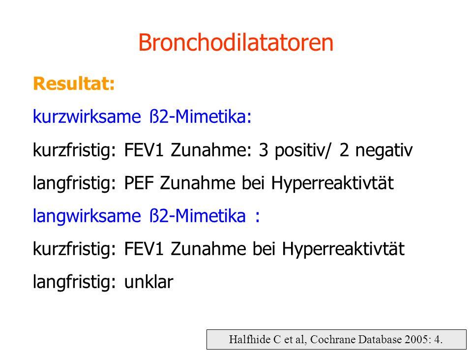 Halfhide C et al, Cochrane Database 2005: 4. Bronchodilatatoren Resultat: kurzwirksame ß2-Mimetika: kurzfristig: FEV1 Zunahme: 3 positiv/ 2 negativ la