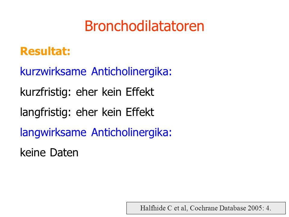 Halfhide C et al, Cochrane Database 2005: 4. Bronchodilatatoren Resultat: kurzwirksame Anticholinergika: kurzfristig: eher kein Effekt langfristig: eh